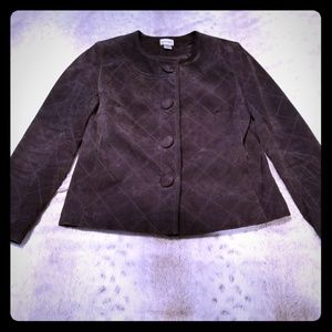 Chico's Brown Leather Cropped Jacket